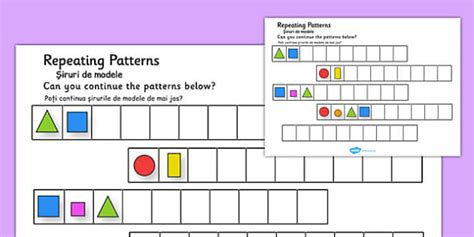 shape pattern twinkl repeating patterns shapes and colours romanian translation