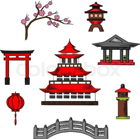 japanese pagoda vector japan travel and culture icons of traditional japanese