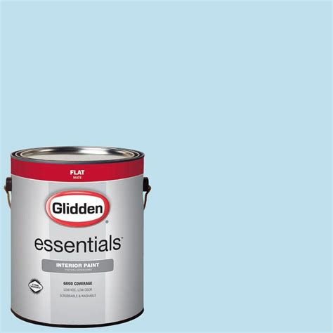 glidden essentials 1 gal hdgb44 clear blue sky flat interior paint hdgb44e 01fn the home depot