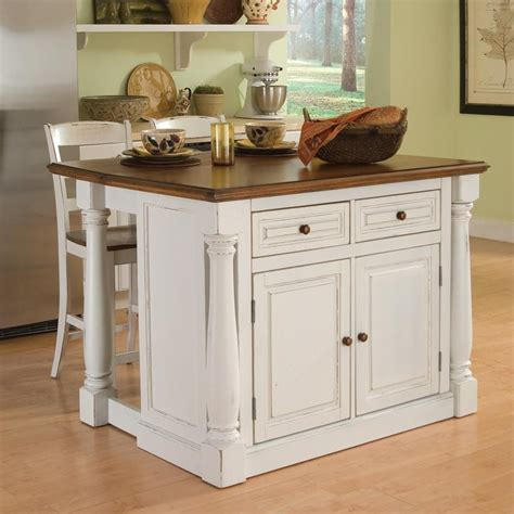 kitchen island with 4 stools shop home styles 48 in l x 40 5 in w x 36 in h distressed antique white kitchen island with 2