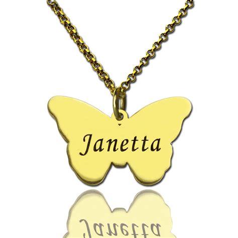 custom charming butterfly pendant emgraved name 18k gold
