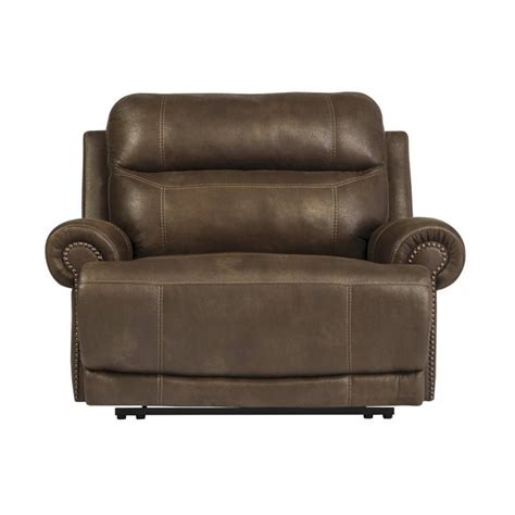 austere faux leather zero wall recliner in brown