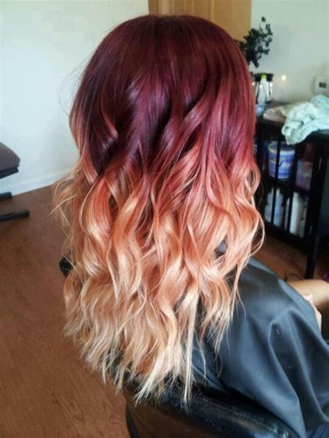 ombre with red and blonde red and blonde ombre dyed hair pinterest