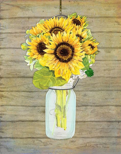 Home Decor Ideas On A Budget Blog by Rustic Country Sunflowers In Mason Jar Painting By Audrey