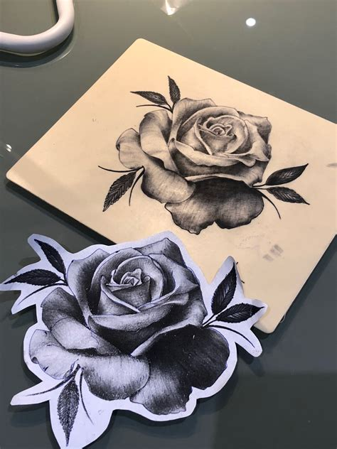 fake rose tattoos black and grey realistic on skin by lilly