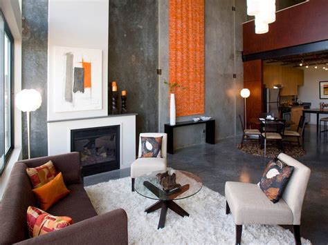 Orange Grey Living Room by Orange And Gray Loft Living Room Hgtv