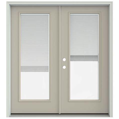 Jeld Wen Patio Doors With Blinds Jeld Wen 72 In X 80 In Desert Sand Prehung Right Inswing Patio Door With