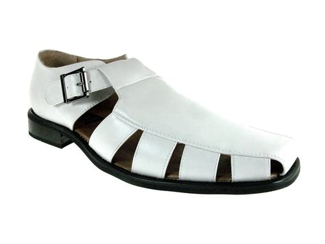 mens closed toe casual dress shoe sandals w leather