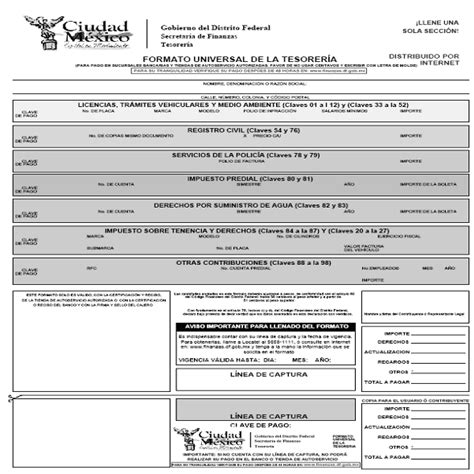 formato universal de la tesoreria df pago de impuestos en distrito federal bbva bancomer