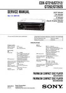 sony cdx gt210 gt212 gt262 gt262s ver1 3 sm service manual free schematics eeprom