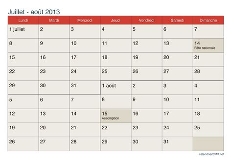Calendrier Juin Juillet 2013 Calendrier Juillet Et Ao 251 T 2013 224 Imprimer
