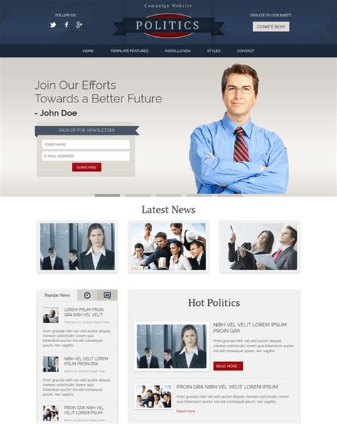 5 of the best political joomla templates down