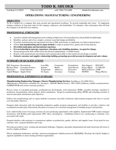 Manufacturing Resume by Manufacturing Engineer Resume Http Jobresumesle