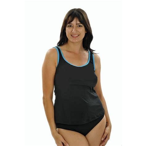 Viva Top Simple Top T2909 1 tank top black teal chlorine resistant sea jewels swimwear