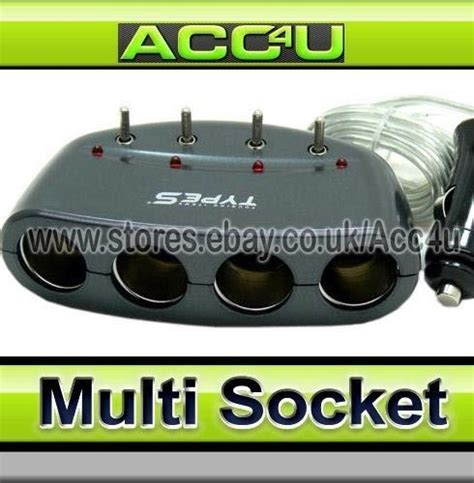 12 Way Multi Socket Type S Car 12v 4 Way Multi Socket Cigarette Lighter Power Adapter With Switches Ebay