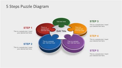 free powerpoint diagram templates free 5 steps puzzle diagram for powerpoint