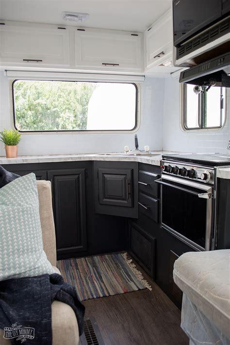 diy camper kitchen makeover painting oak cabinets
