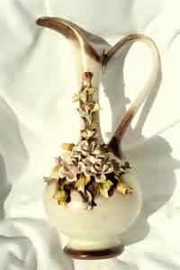 italian capodimonte flower ewer vase n crown by