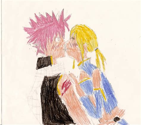 fairy tail natsu and lucy kiss by strawberrymilkchan on