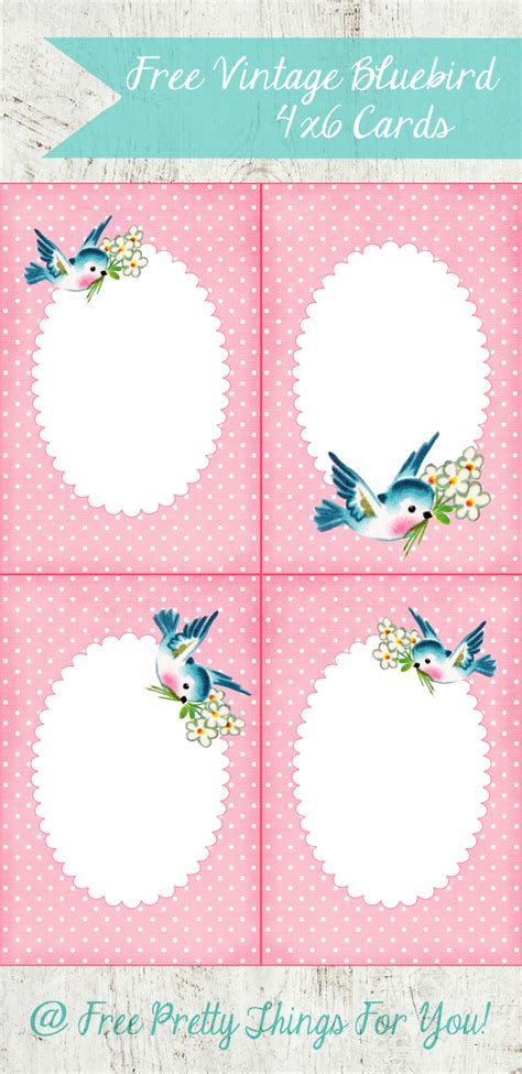 Bluebird Gift Card - free 4x6 vintage bluebird cards free pretty things for you