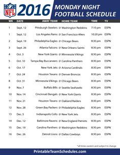 printable nfl monday night football schedule 2015 nfl thursday night football schedule 2016 printable