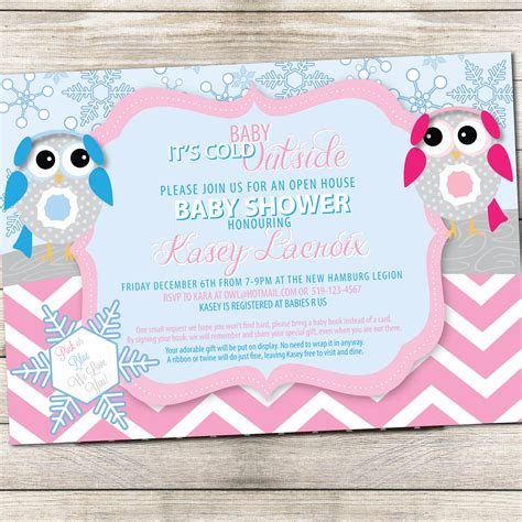 Winter Owl Baby Shower Invitations by Baby Shower Invite Winter Owl Monkey Designs