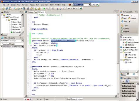 Delphi Packages Tutorial | delphi 2009 math parser exle