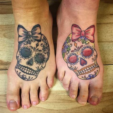 matching skull tattoos matching sugar skull creativefan
