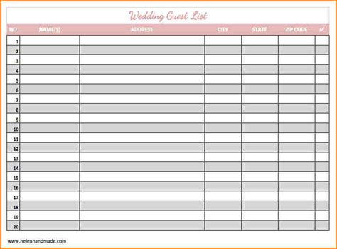 wedding list spreadsheet template 12 wedding guest list excel wedding spreadsheet
