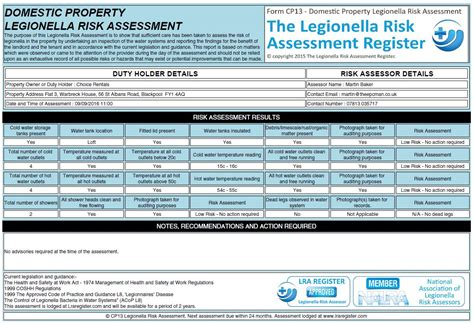 Legionella Risk Assessment Template Practical Guidance And Template For Legionella Risk Legionella Risk Assessment Template