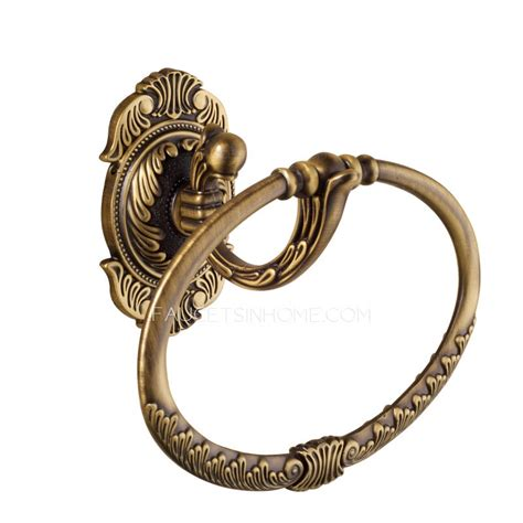 Vintage Carving Antique Brass Country Style Towel Rings