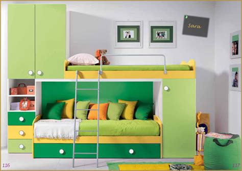 cameretta a ponte 3 letti cameretta completa per ragazzi verde gialla letto soppalco