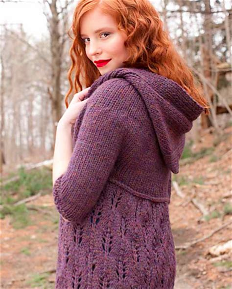 knitted hoodie pattern womens hooded knit sweater patterns a knitting