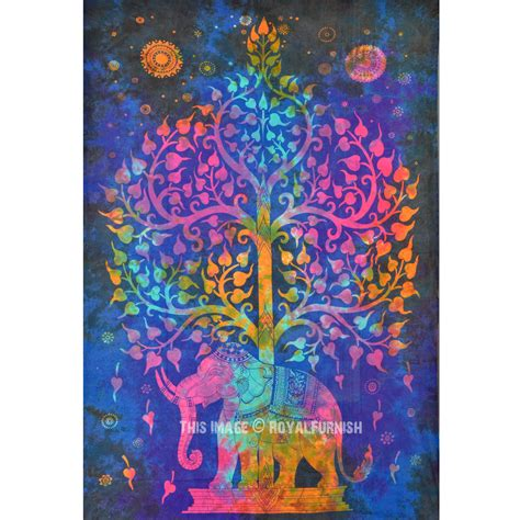 colorful tapestry small blue colorful tie dye hippie elephant and tree