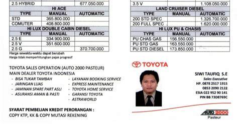 sales operation toyota auto  pasteur bandung harga