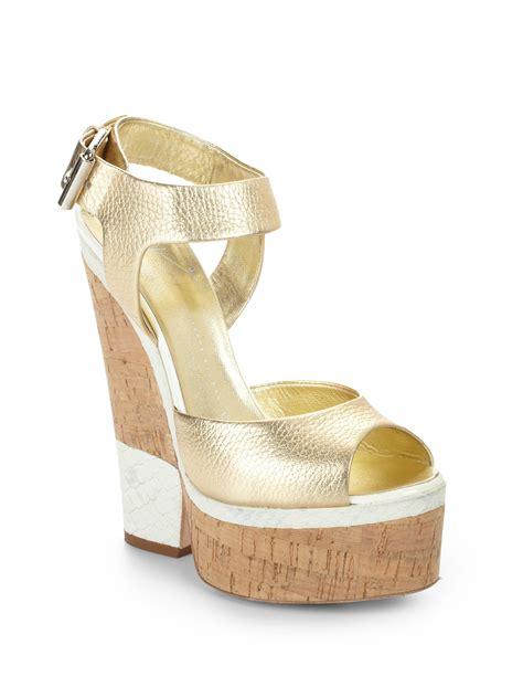 giuseppe zanotti metallic leather cork wedge sandals in