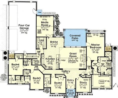 media room floor plans interesting floor plan 4 bedrooms plus study and keeping