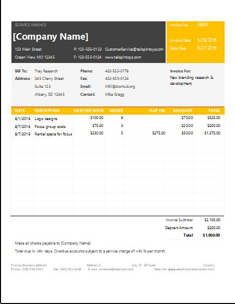 ms excel service invoice template excel invoice templates