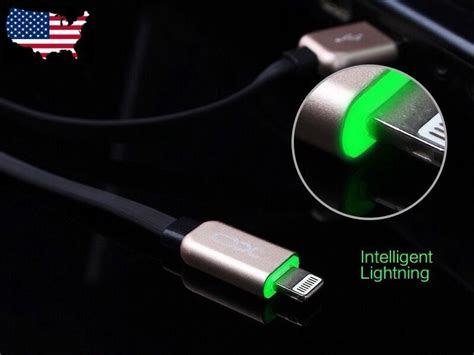 led light high speed sync usb lightning charger cable  iphone   pluss ebay