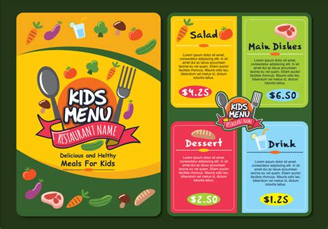 cute colorful kids menu template download free vector