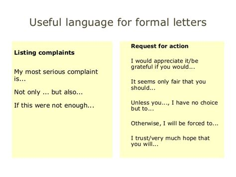 Formal Letter Language Useful Language For Cae Wt Paper Part1