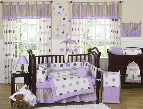 Brown And White Crib Bedding with Modern Purple And Brown Polka Dot 9pc Baby Crib Bedding Set Room Collection Ebay