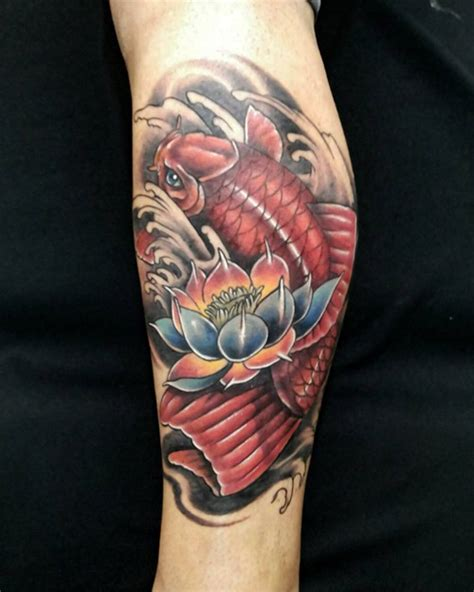 koi fish thigh tattoo 35 stunning lotus flower design