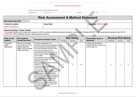 electrical risk assessment template risk and method statement for electrical rewire seguro