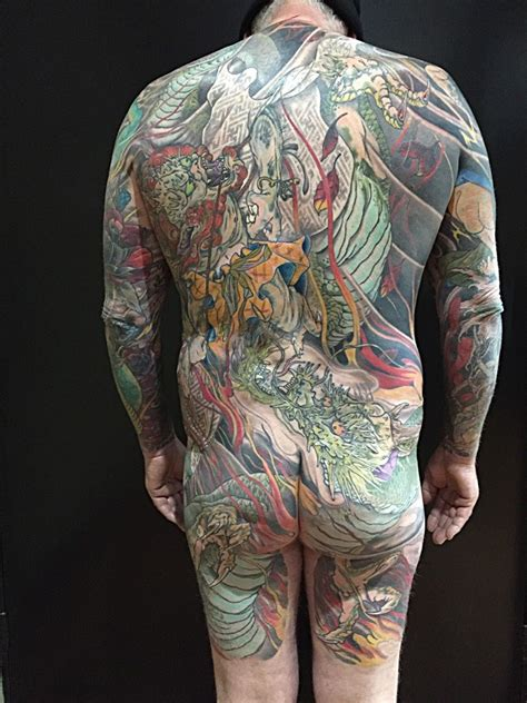 pure tattoo japanese fujin back by louie poupos