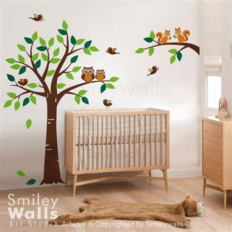 Tree Branch Wall Decal Nursery Forest Tree Wall Decal Branch With Squirrels Owls And Birds Wall Decal Owls Wall Decal