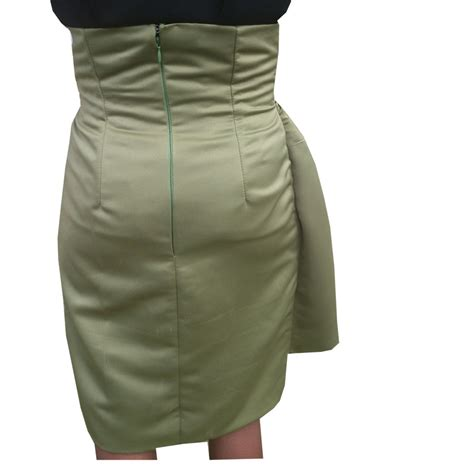 olive green true high waisted pencil skirt with front