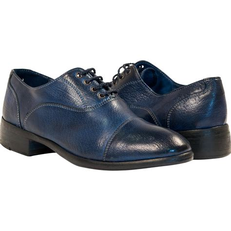 blue leather shoes dip dyed blue leather oxford lace up shoes paolo