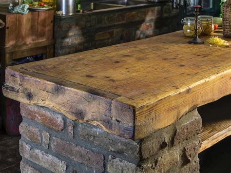 Design A Kitchen Island Online by Barn Wooden Top Rustic Kitchen Island With Brick Base