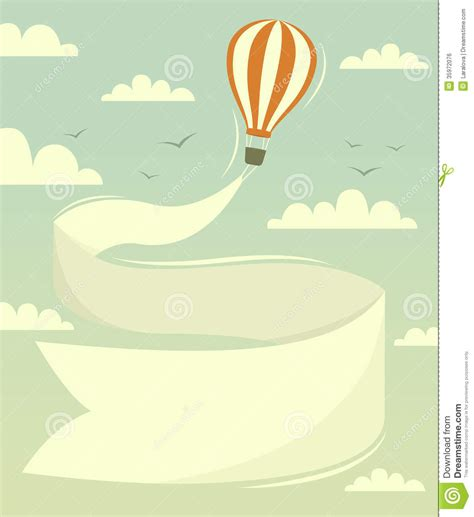 illustrator tutorial hot air balloon hot air balloon with banner stock vector image 35972076